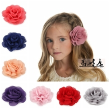 30pcs/lot 20colors 8.5cm Chiffon Petals Poppy Flower Hair Clips Rolled Rose Fabric Hair Flowers For Baby Girls Hair Accessories