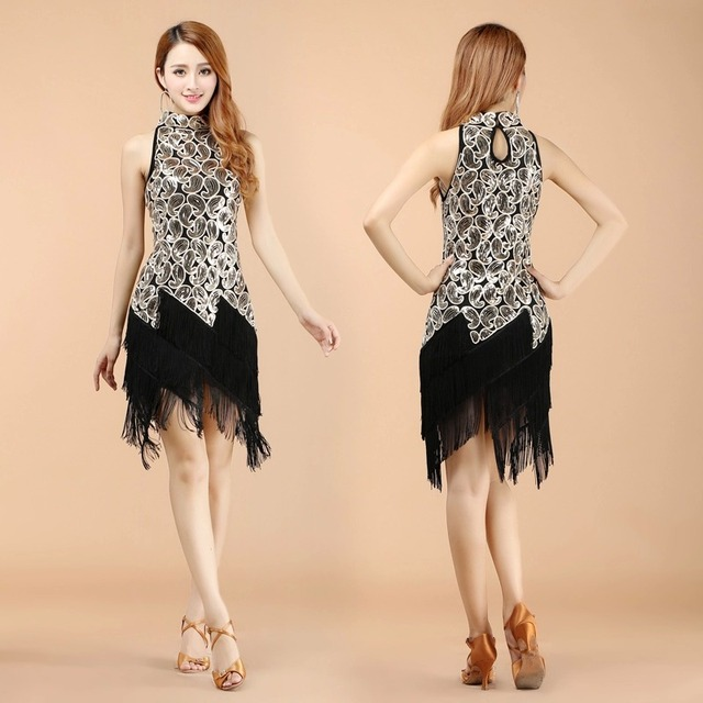 New Elegant Neck Sequins+Fringe Latin Dance Wear Costume Tango Samba dancing dresses Skirts
