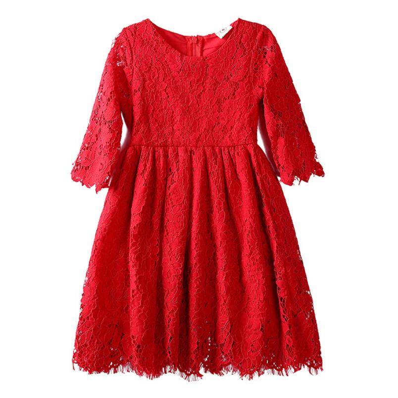 2019 Red White Spring Fall Summer Girl Lace Dress Kids