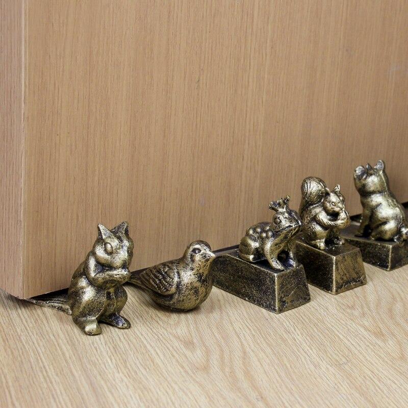 Main Antique Or Oiseau Mignon Chat Chien, Grenouille, Cochon, écureuil Animal Chiffres Modèles En Fonte De Sol En Métal Arrêt De Porte