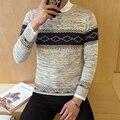 2016 primavera e no outono tendência padrões geométricos Impressos de todos os jogos dos homens Coreano moda O pescoço hedging camisola ocasional M-2XL