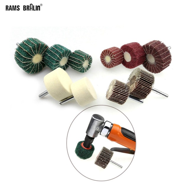 10 pieces Dia. 30-50 mm Assorted Drill Abrasive Wheel Grinding Head for Metal Wood Polishing