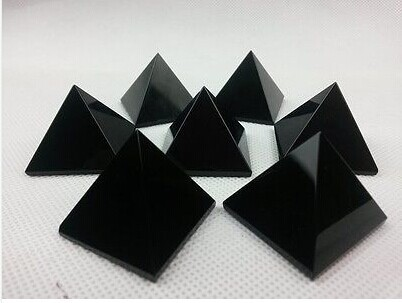 174g 7pcs NATURAL OBSIDIAN POLISHED CRYSTAL PYRAMID Healing