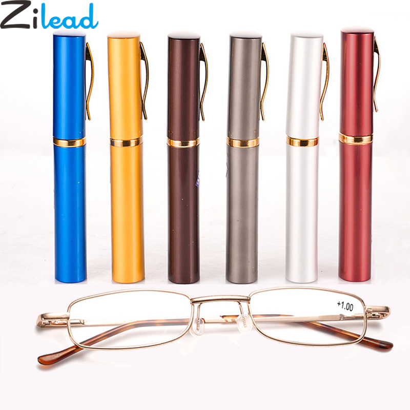 Zilead 6 Color Portable Metal Pen Reading Glasses Ultralight Resin HD Presbyopic Glasses With Pen Case For Women&Men Elder Gifts