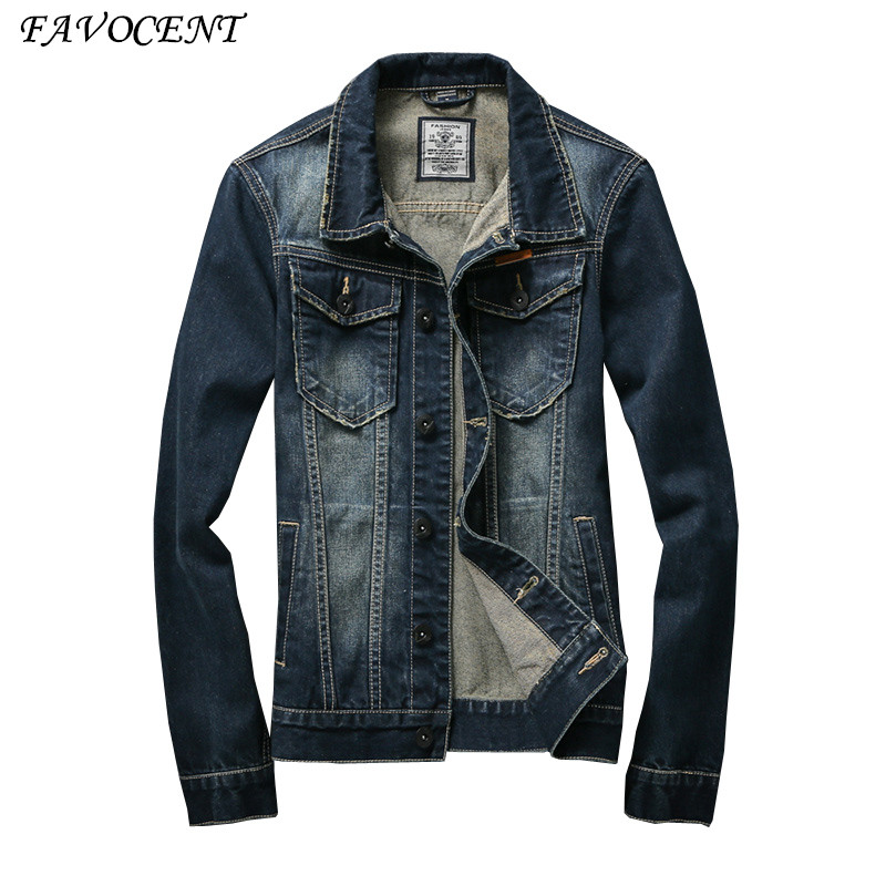 FAVOCENT 2018 new arrival Denim Jacket Men Fashion brand clothing Jeans Jackets Male Spring Autumn Casual Clothing 611302