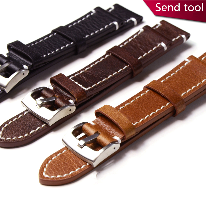 MERJUST Handmade 18MM 19MM 20MM 21MM 22MM 23MM 24MM Leisure Genuine Leather Black Brown Watchband Wristband For Universal Strap