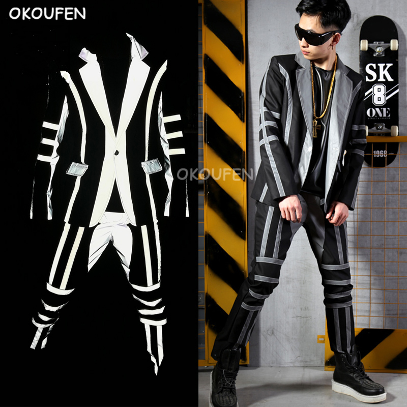 Fashion Cool Men's Suits Costumes Nightclub Male Singer DJ Reflective Coat Hairdresser Stage Costume