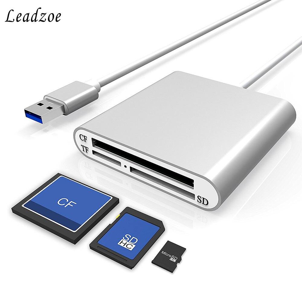 Leadzoe alumínio usb 3.0 leitor de cartão portátil 3-slot flash leitor de cartão de memória para cf/sd/tf micro sd/md/mmc/sdhc/sdxc cartões flash