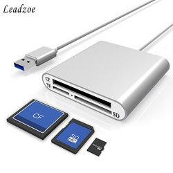 Lecteur de carte Portable Leadzoe aluminium USB 3.0 lecteur de carte mémoire Flash à 3 fentes pour cartes Flash CF/SD/TF Micro SD/MD/MMC/SDHC/SDXC