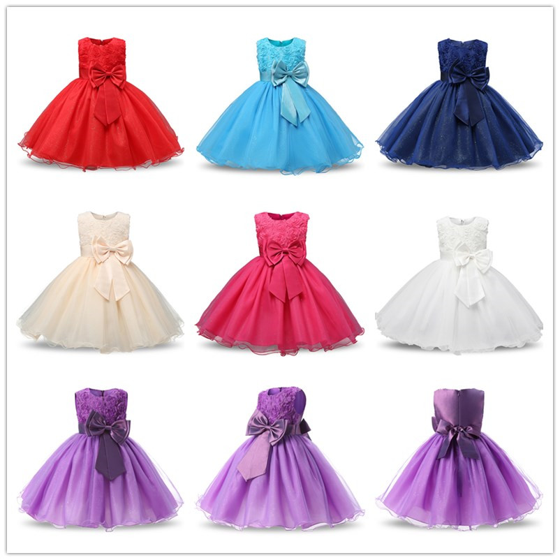 7be39ab06 Infant Princess Baptism Dress For Girl Kids Festival Party Wear Baby ...