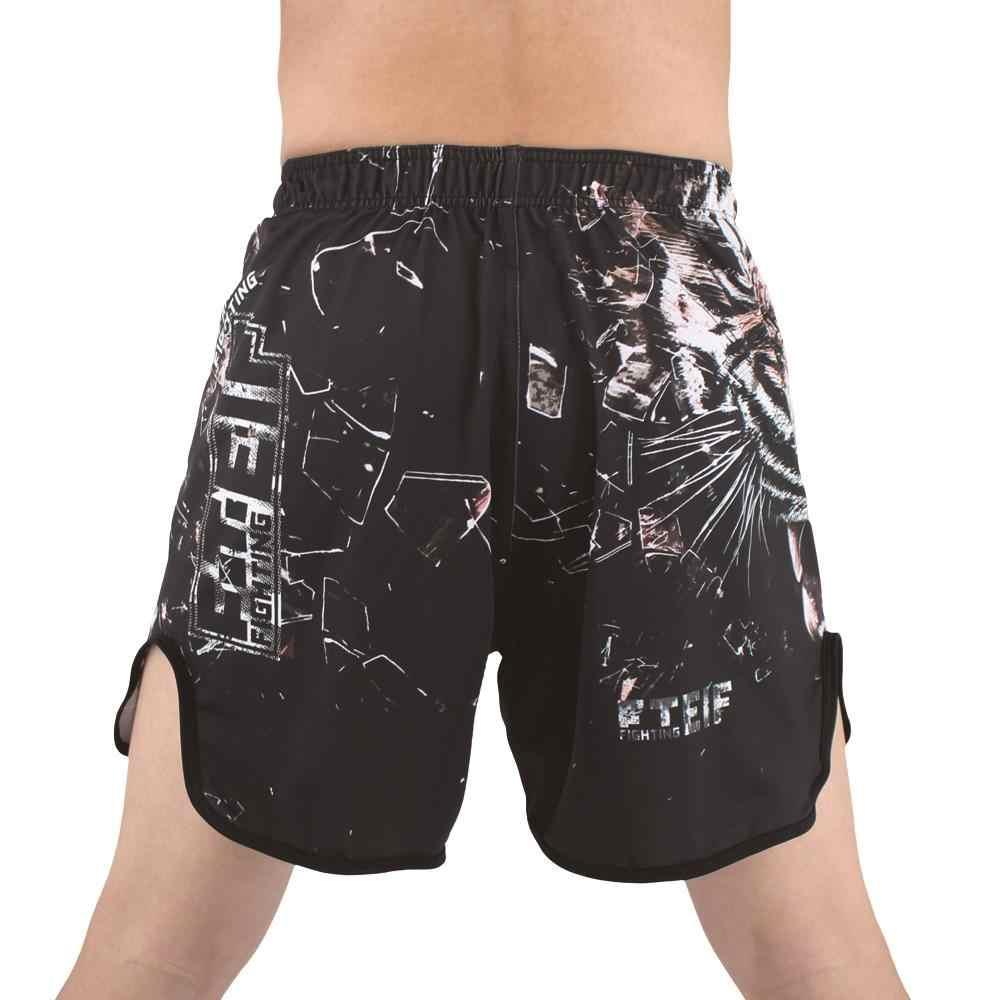 Fteif Hitam Pertempuran Harimau Kepala Mma Tinju Celana Pendek Kain Peregangan Celana Pakaian Tiger Muay Thai MMA Celana Pendek Melawan Celana Pendek