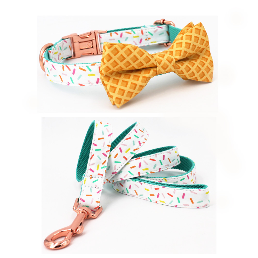 Girl Dog Collar Sprinkles Pattern Bow Collar Rose Gold adjustable pet puppy cat collar bow air max 95 white just do