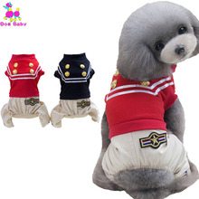 DOGBABY Dog Coat Spring Autumn Cotton Pets Clothing England Style Dog Apparel Cool Police Four Legs Clothes For Yorkshire Teddy