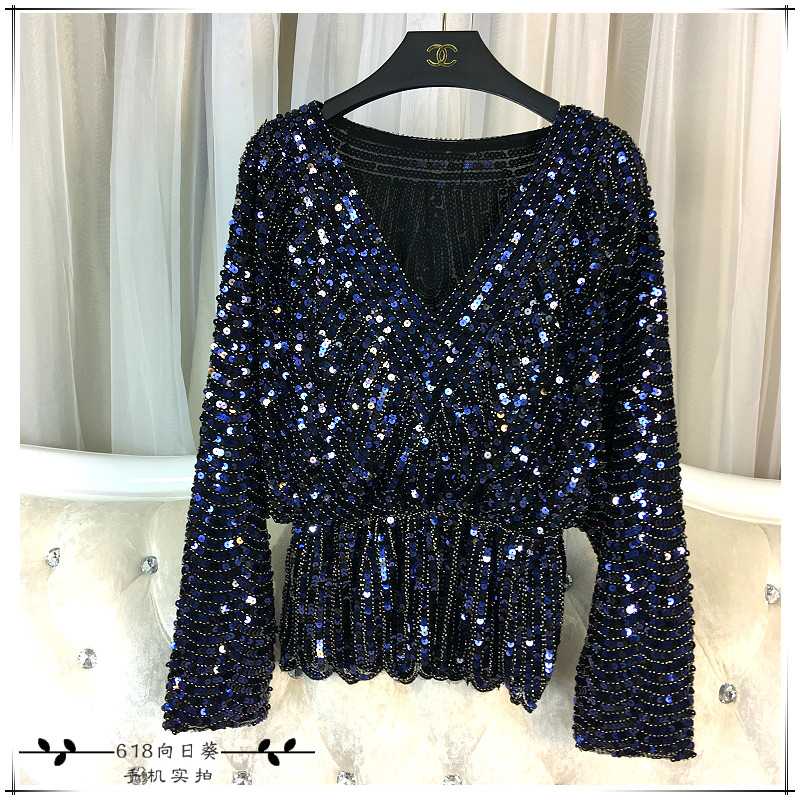 Cakucool New Long Sleeve Sequined Blouse Shirt Deep V Neck Sexy