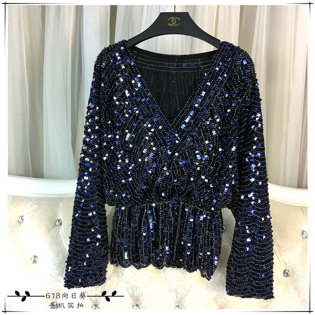 Cakucool New Long Sleeve Sequined Blouse Shirt Deep V-neck Sexy Blusas  Beading Bling Elegant Blouses Shirts Tops Female Spring a23afc680231