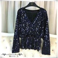 Cakucool New Long Sleeve Sequined Blouse Shirt Deep V Neck Sexy Blusas Beading Bling Elegant Blouses