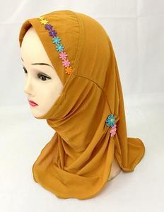 Image 3 - Ramadan Muslim Kids Girls Hijab Scarf Islamic Flower Caps Shawls Amira Headscarf Wrap Headwear Turban Arab Children Underscarf