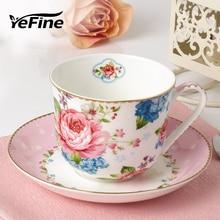 YeFine Große Kapazität 400 ml Porzellan Kaffeetasse Gesetzt Drink Mit Tablett Frühstück Tee Tassen Und Untertassen Bone China Großhandel