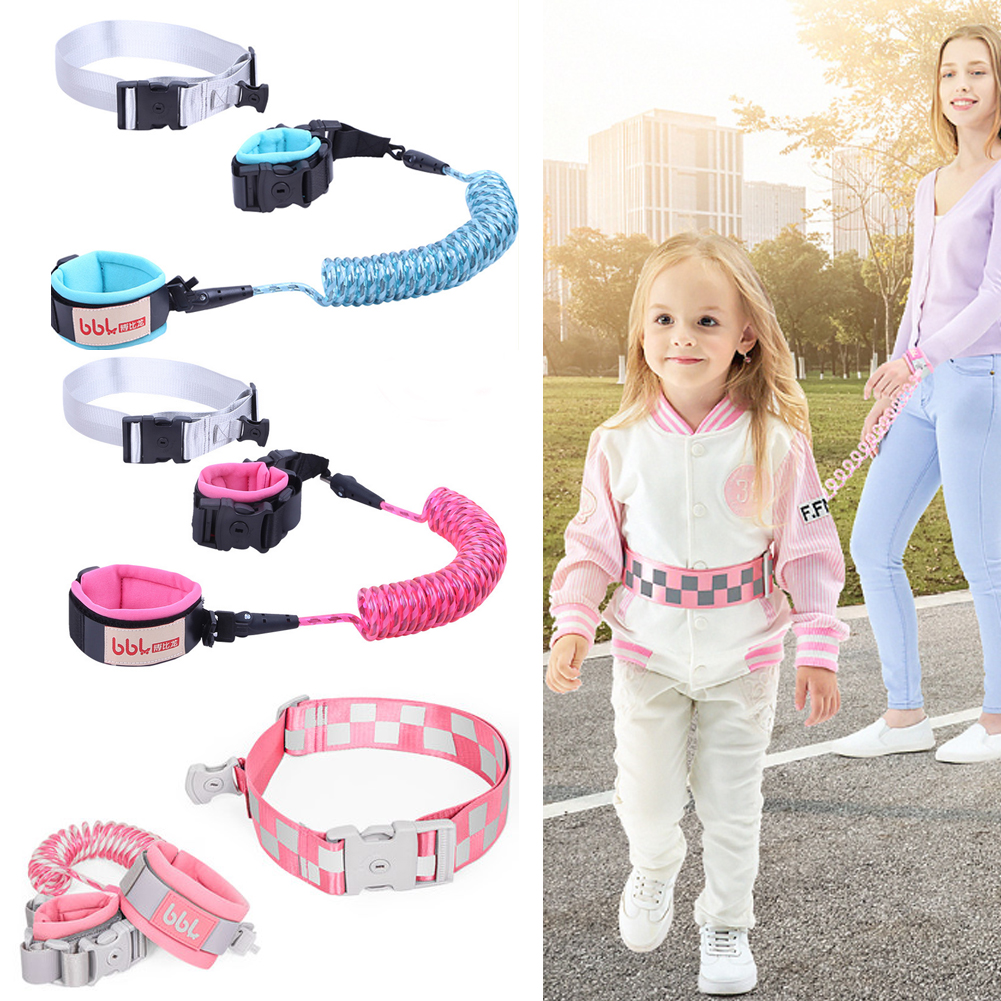 Babies Anti Lost Wrist Link,Toddles Safety Wrist Leash Blue Anti Lost Rope Walking Harness with Key Lock Reflective for Kids 6.56 Feet