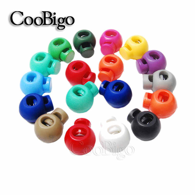 12pcs Colorful Plastic Ball Round Spring Stop Cord Lock Toggle Stopper Clip For Sportswear Clothing Shoes Rope DIY Craft Parts