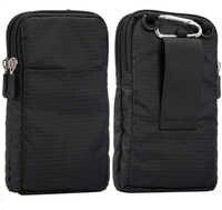 Universal para todos los teléfonos móviles de menos de 6,3-6,9 pulgadas Bolsa exterior 3 bolsillos 2 cremalleras cartera funda Clip de cinturón bolsa para teléfono inteligente