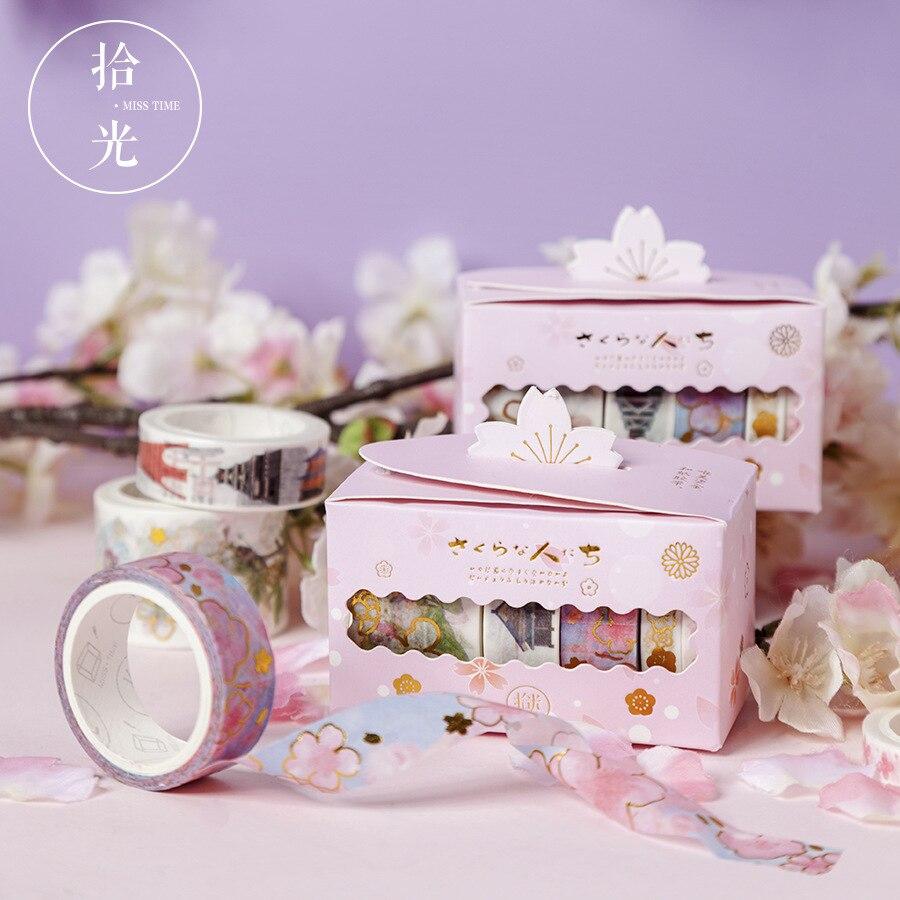 1box Washi Paper Tape Backlighting Cherry Series Scrapbooking Stickers Diary DIY Bronzing Decoration Sticker