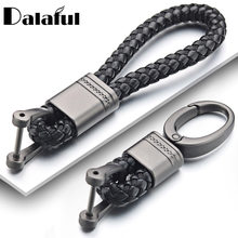 Leather Rope KeyChain For Car Hand Woven Horseshoe Buckle Key Rings Couple Auto Gift Detachable Metal Luxury Key Chains K395(China)