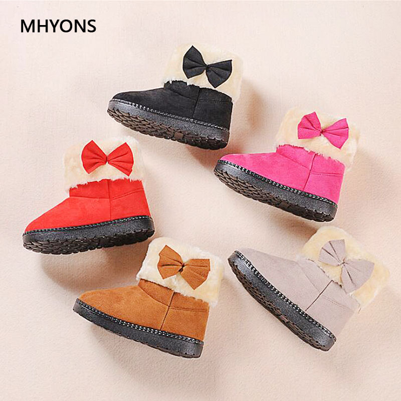 MHYONS Fashion Boots For Children Girls Shoes Winter Boots Kids Snow Boots Children Butterfly Knot Soft Leather Girls Sneakers