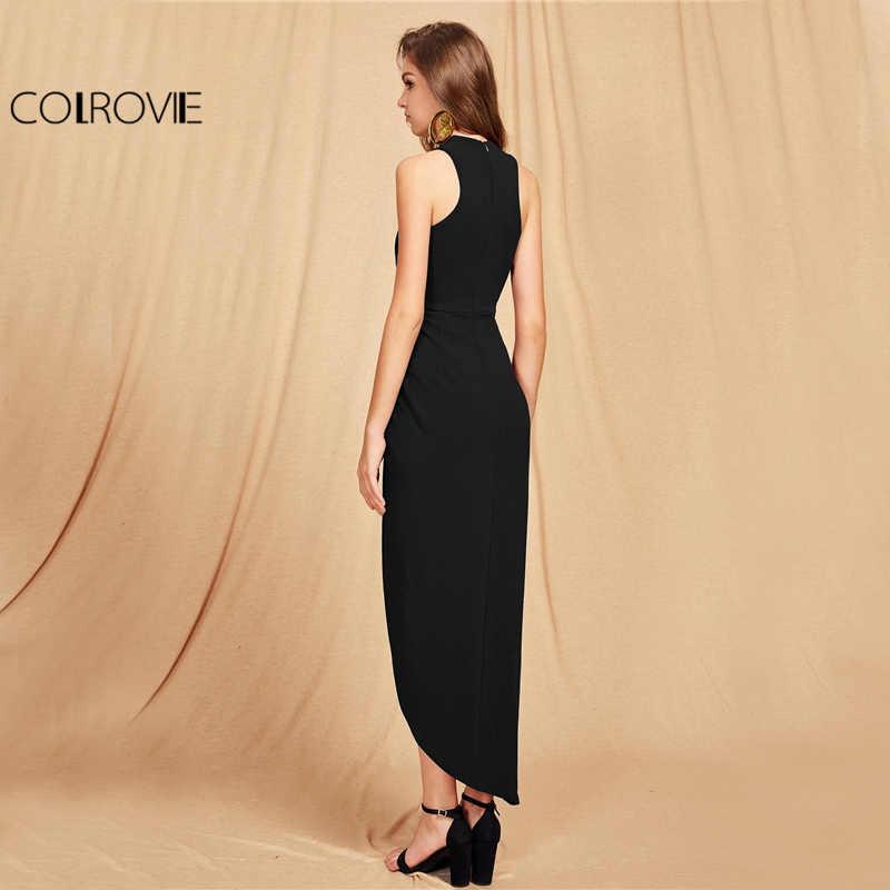 COLROVIE Крест Холтер Макси Вечерние платья черный тонкий женский Асимметричный Ruched осеннее платье элегантный обёрточная Сексуальная Bodycon платье