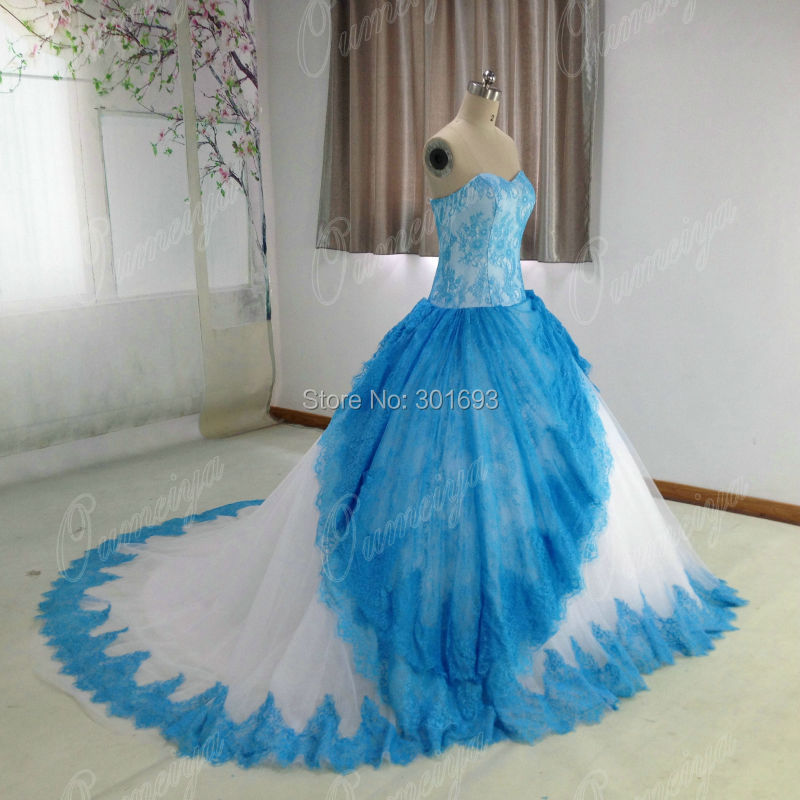Oumeiya Real Sample ORW461 Lace and Soft Tulle Two Tone Ball Gown ...