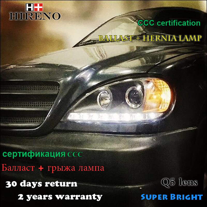 Hireno Headlamp for Mercedes-Benz W163 ML320 ML280 ML350 ML430 Headlight Assembly LED DRL Angel Lens Double Beam HID Xenon 2pcs door mirror turn signal light for mercedes benz w163 ml270 ml230 ml320 ml400 ml350 ml500 ml430 ml55