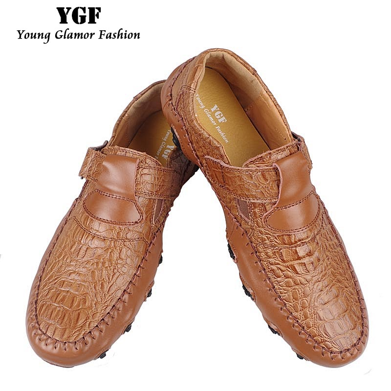 YGF Handmade Leather Shoes Men Casual Shoes Slip on Genuine Leather Mens Loafers Moccasins Breathable Driving Shoes branded men s penny loafes casual men s full grain leather emboss crocodile boat shoes slip on breathable moccasin driving shoes