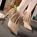 Alta-salto alto moda botas de veludo borla dedo apontado saltos finos femininos ankle boots borla sy-1692
