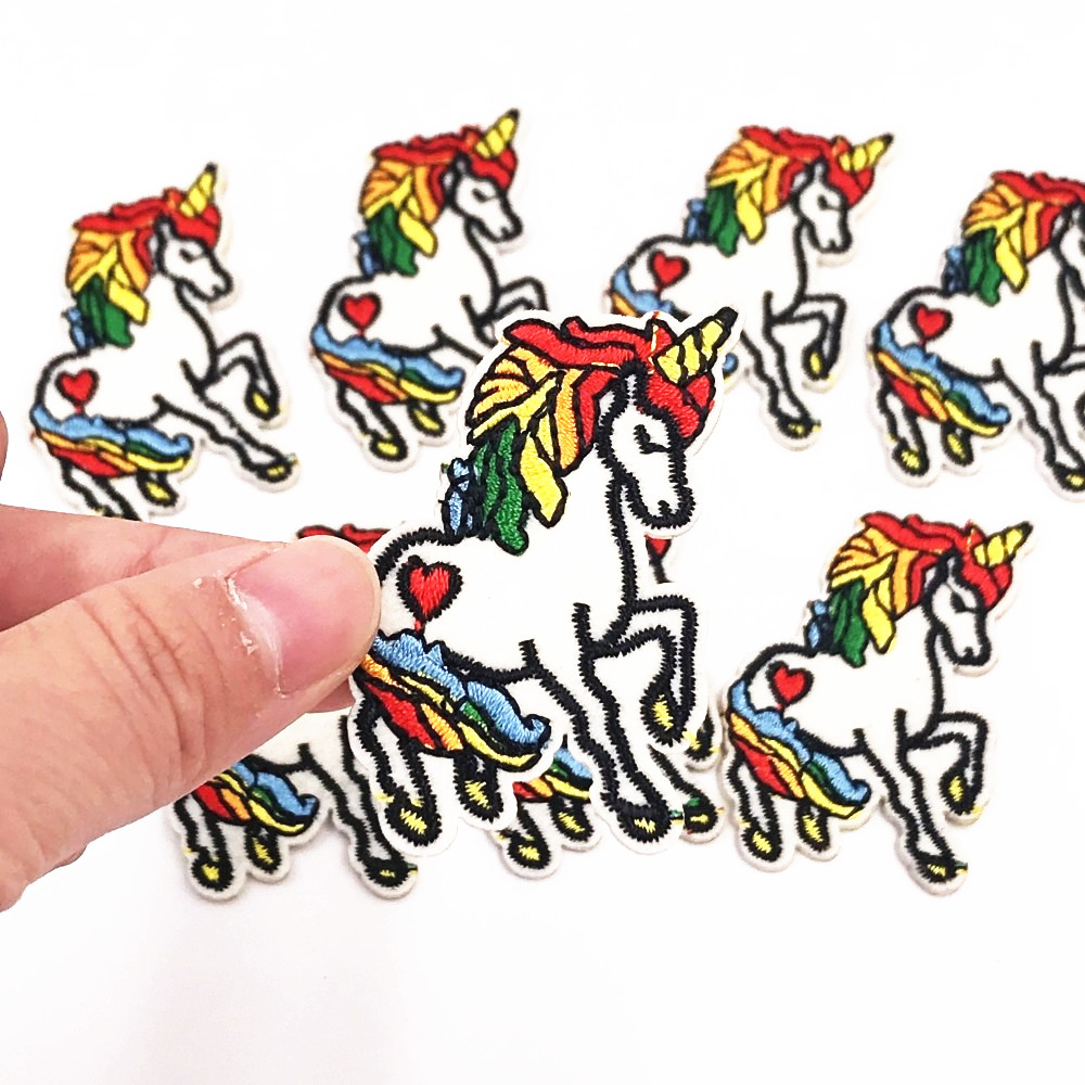 10PCS Colorful Horse Iron On Sewing On Embroidered Applique Patch for Jacket Clothes Stickers DIY Apparel Accessories patches