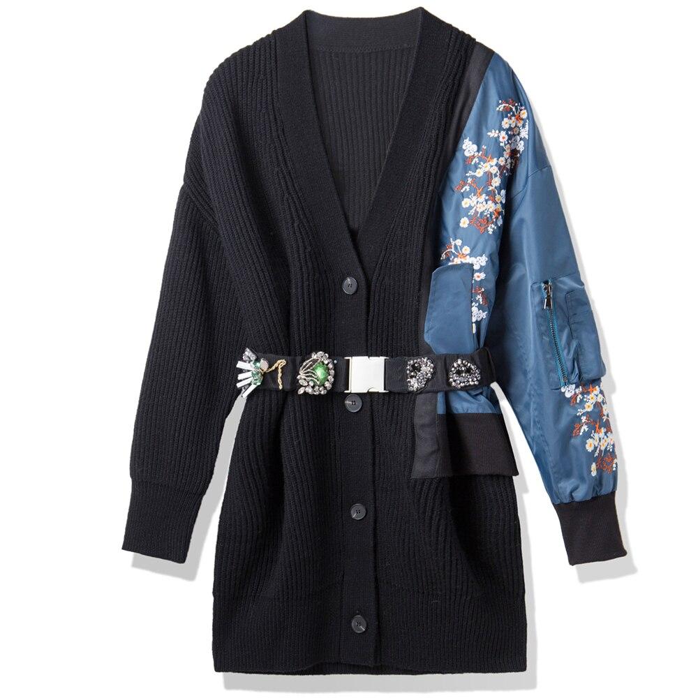 Strass Femmes Tricot Mince Longue Lxmsth Chandails Manteau Noir Laine Automne Veste Ceinture Plus Piste Taille V La Broderie Cou Perlé AwZgwqOURt
