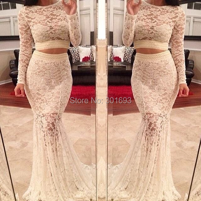 26f69b1770 Oumeiya ONP178 Ivory Lace Champagne Satin See Through Two Piece Long Sleeve  Prom Dresses Made in China 2015-in Prom Dresses from Weddings   Events on  ...