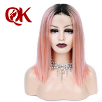 QueenKing hair Lace Front Wig 250% density 1B Pink OMBRE Bob Wig Silky Straight Free Part Preplucked Brazilian Human Remy Hair