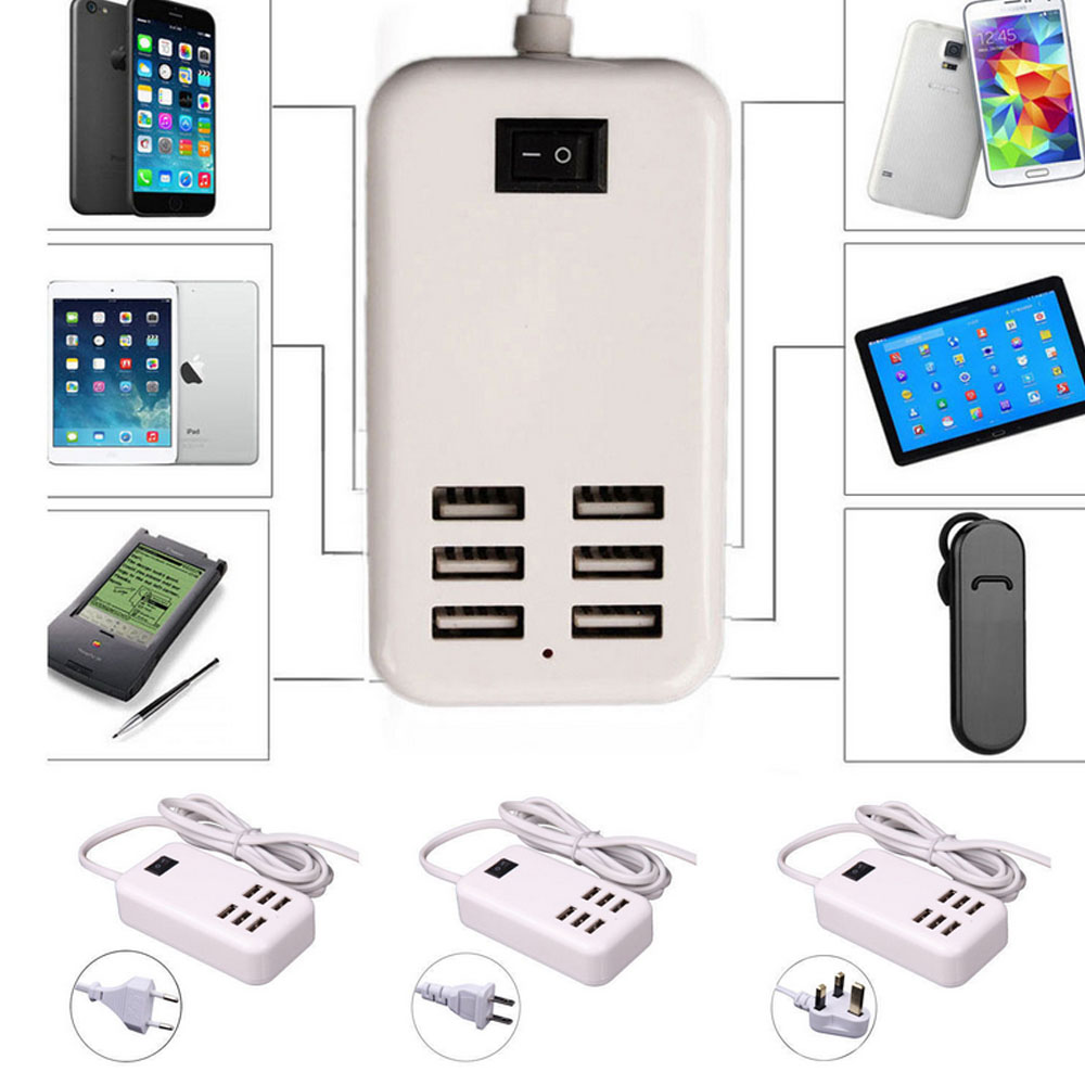 6 Ports US/UK/EU USB Socket Power Supply Strip Plug USB Power Charger Adapter Charging 5V 3A Multiple Wall For Cell Phone Tablet