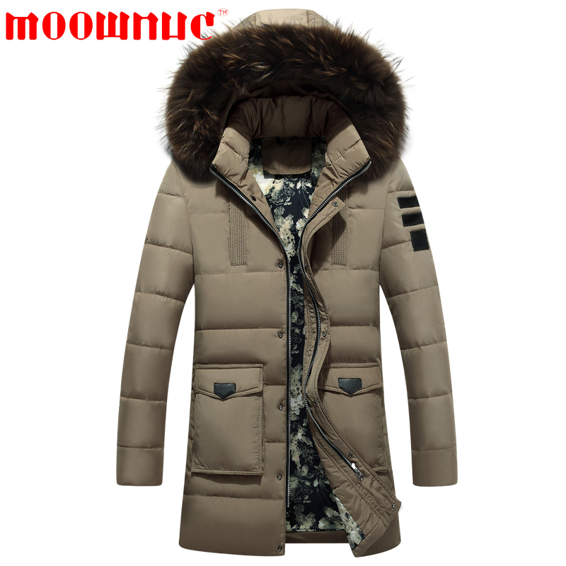 Down Jackets for Men Business Jackets Free Shipping Thicken Casual Fashion with Hat Medium Length Warm Large Size Brand MOOWNUC