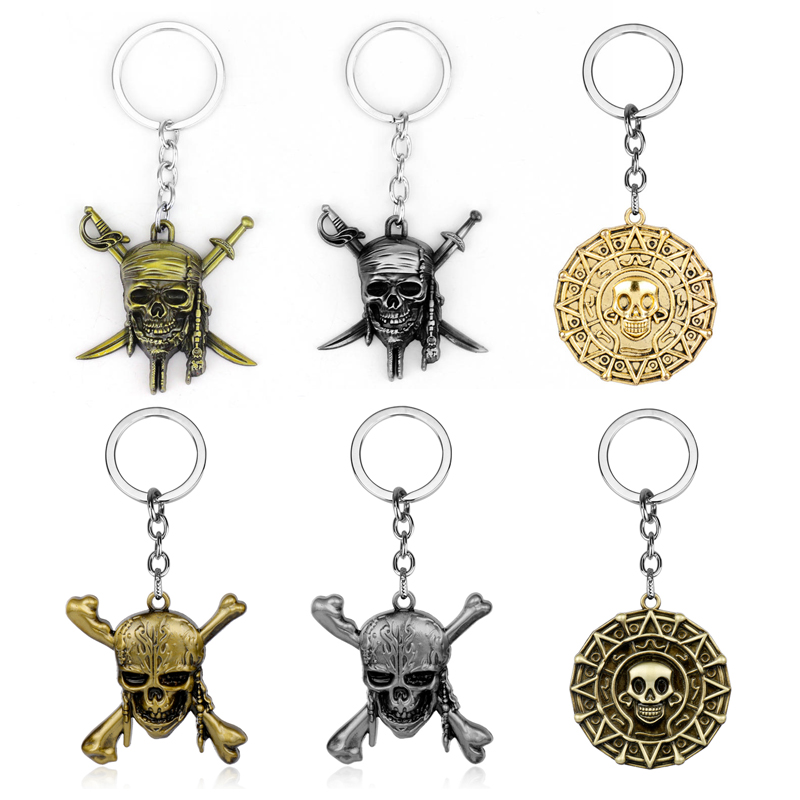 Pirates Of The Caribbean Keychain Captain Jack Sparrow Mask Skull With Crossbones Key Holder Men Gifts