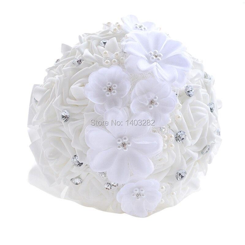 2016 Luxury Crystal Wedding Bouquets White Bridal Silk Bouquet Mariage Handmade Bridesmaid Bouquets Ramos De Novia  1