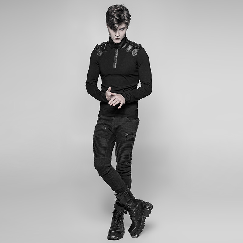 PUNK RAVE Neue Punk Rock Persönlichkeit Uniform Männer Lange Ärmeln T Shirt Gothic Steampunk Motorrad Casual Straße Coole Tops - 3