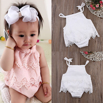 Summer Pink Lace Romper Baby Girls Crocheted Sleeveless Spaghetti Straps Jumpsuit Outfit Sunsuit Flower Clothes 0-18M