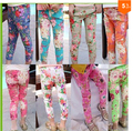 Free Shipping 2016 Spring And Summer Girls Floral Denim Girls Trousers leggings