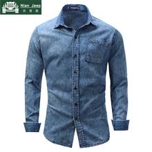 New 2018 Brand Winter Mens long sleeve shirt fashion casual denim shir