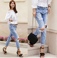 Free shipping 2016 Autumn New Fashion Cotton Jeans Women Loose Low Waist Washed Vintage Big Hole Ripped Long Denim Pencil Pants
