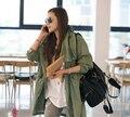 2016 Новые моды для Женщин свободный размер/один размер Военная Куртка Кнопка зеленый вышивка Череп Назад длинным рукавом С Капюшоном Куртки пальто C0398