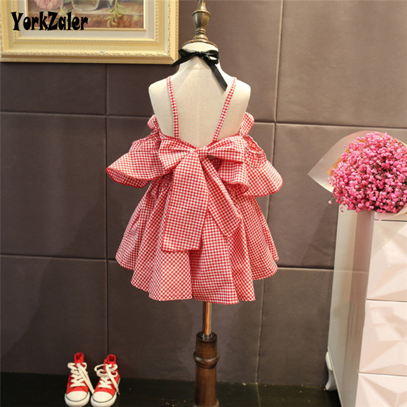 Yorkzaler Kids Princess Dress For Girl Summer Backless Plaid Children Party Wedding Dresses Bowknot Todder Baby Clothes 3T-7T