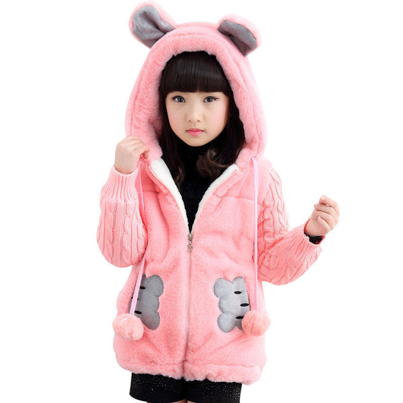 Autumn Winter Girls Sweater Coat Jacket For Children Thick Hooded Cartoon Outerwear Girls Christmas Clothes 4 6 8 10 12 13 Years цены онлайн