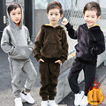 2017 Fall Winter Children Clothing Set Boys & Girls Solid Velvet Hooded Sweatshirt + Pants Twinset Kids Sport Suit Sportwear A93
